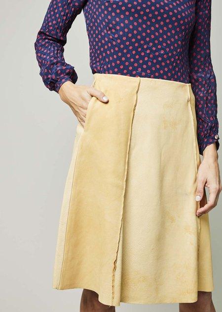 Hazel Brown Leather Panel Skirt