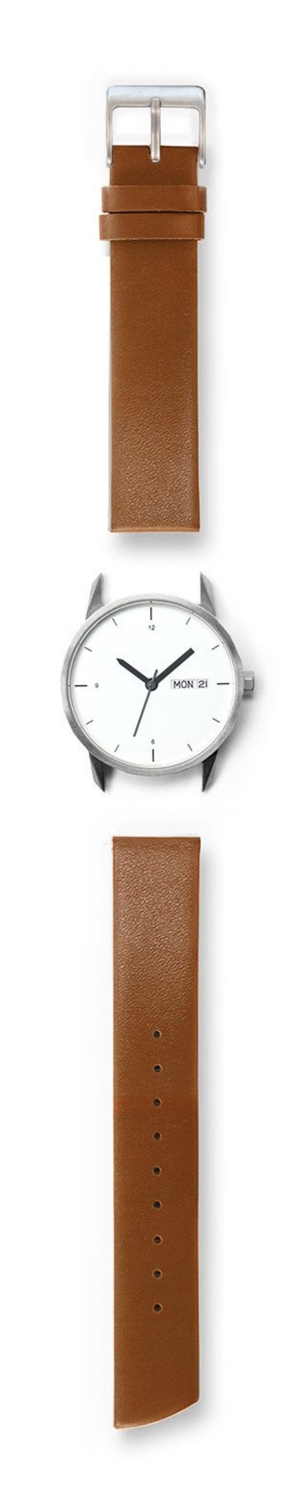 Tinker Watches 34mm Silver Watch Camel Strap