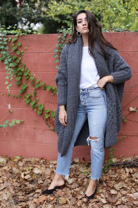 I love Mr Mittens Moss Oversized Cardigan - Charcoal