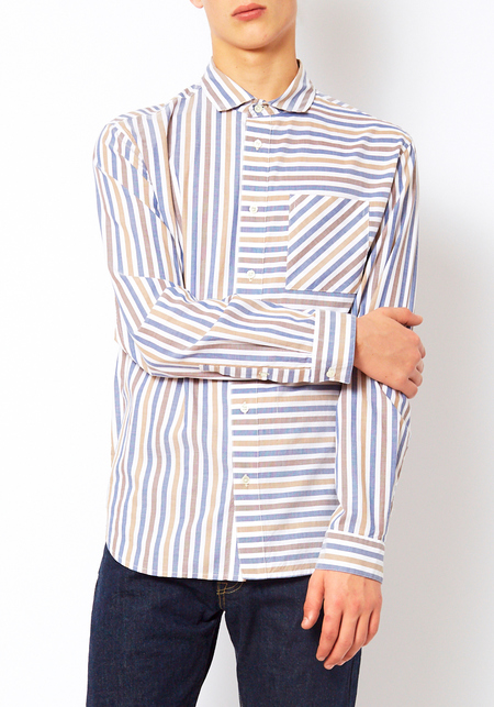 Ddugoff Striped Henry Button Down Shirt