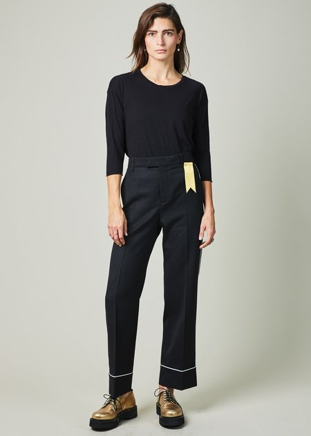 The Gigi Teresa Piped Cuff Trouser - BLACK