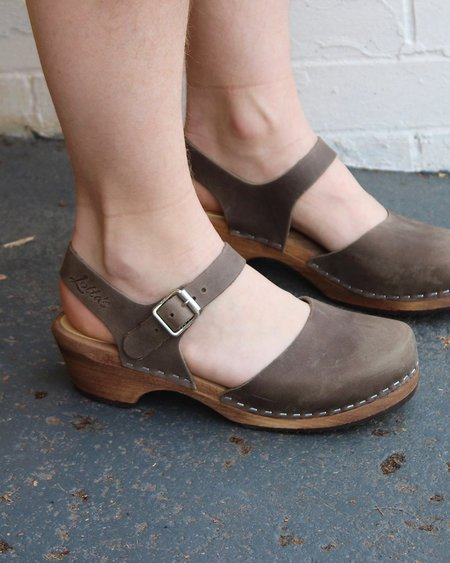 Lotta from Stockholm Low Wood Taupe Clogs on Brown Base