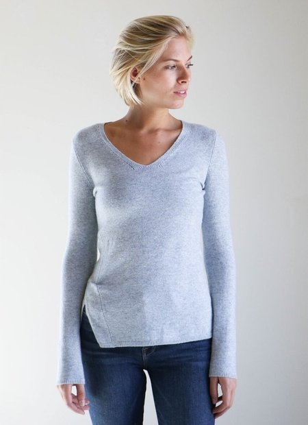Inhabit Side Slit V Neck Sweater in Sky