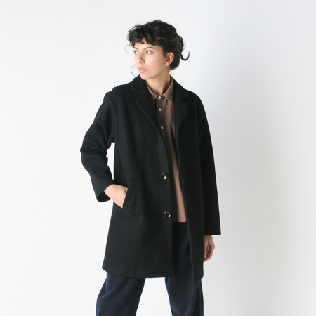 Older Brother Wool Coat in Black Indigo