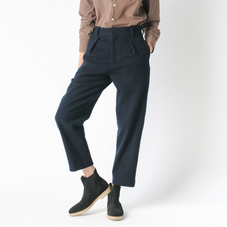 Older Brother Washi Wool Pleated Trouser in Black Indigo