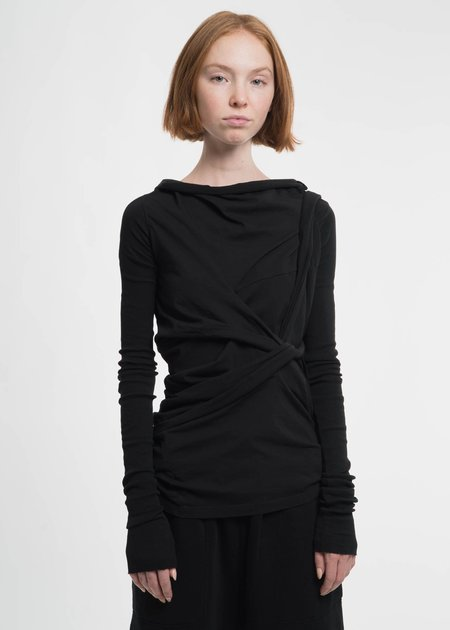 Rick Owens Drkshdw Black Long Sleeve Tie T-Shirt