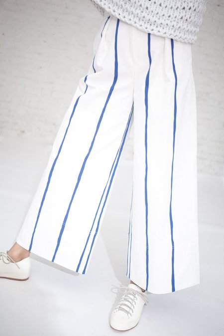 Tomorrowland Cotton Canvas Pant in White/Blue