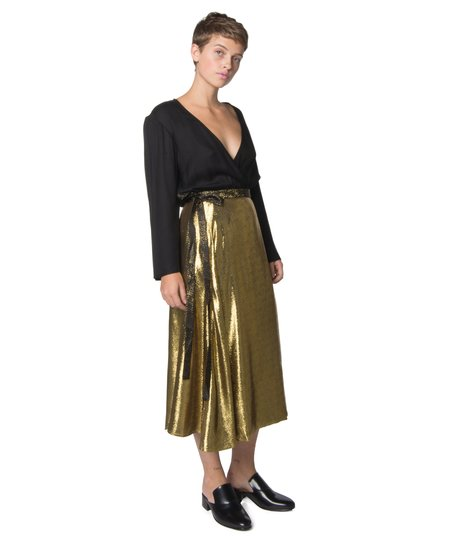 Wray Gold Metallic Wrap Skirt