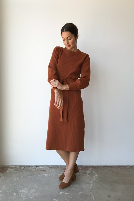 Mixed Business Rust Crewneck Sweater Dress