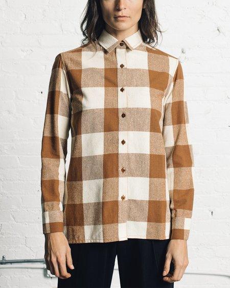 Ali Golden Button Down Shirt - Chestnut Plaid