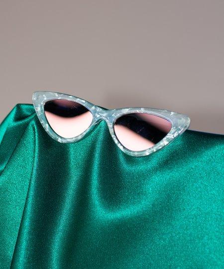Le Specs x Adam Selman White Marble Coral Mirror Last Lolita Sunglasses