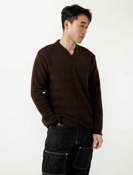 Tender Voe Stripe Y Neck Pullover - Brown