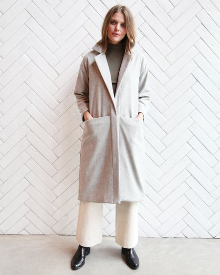 Esby Claire Wool Duster - Light Grey
