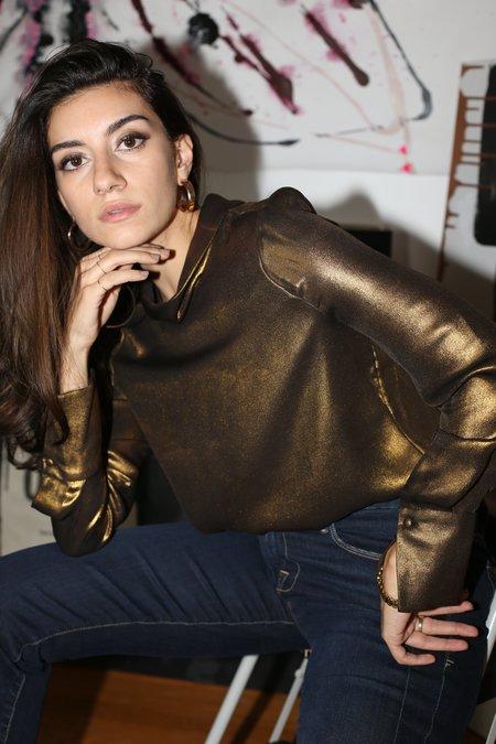 Frame Denim Concealed Lurex Blouse - Gold