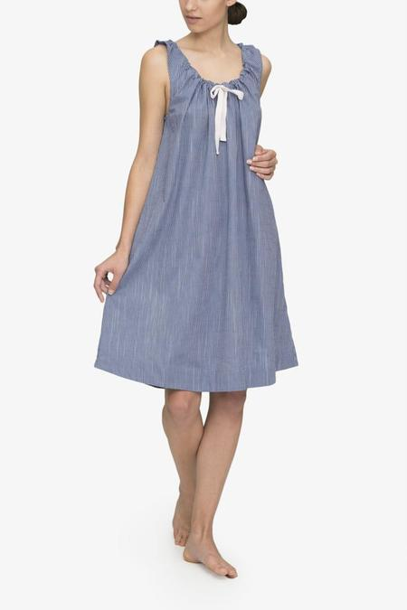 The Sleep Shirt Sleeveless Nightie Navy on Navy Stripe