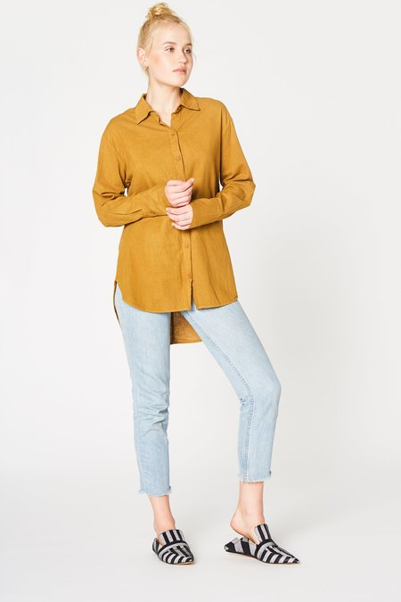 Lacausa Cotton Noil Button Up in Yellow