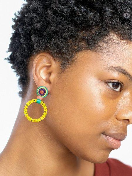 Robin Mollicone SMALL BEADED HOOP EARRINGS