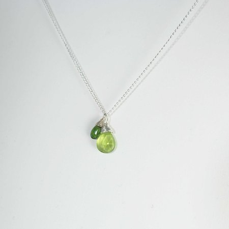 Sara Danielle Two Hearts Necklace, Peridot + Chrome Diopside