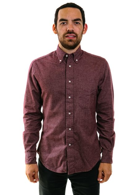 Gitman Vintage Flannel Chambray Shirt in Burgundy
