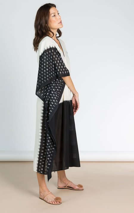 Two Ikat Caftan With Black Front - Cream/Black