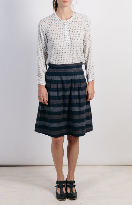 Bridge & Burn Ondine Navy Multistripe Skirt