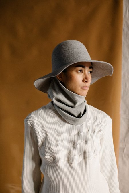 Clyde Wide Brim Dome Hat with Neck Warmer - Heather Grey