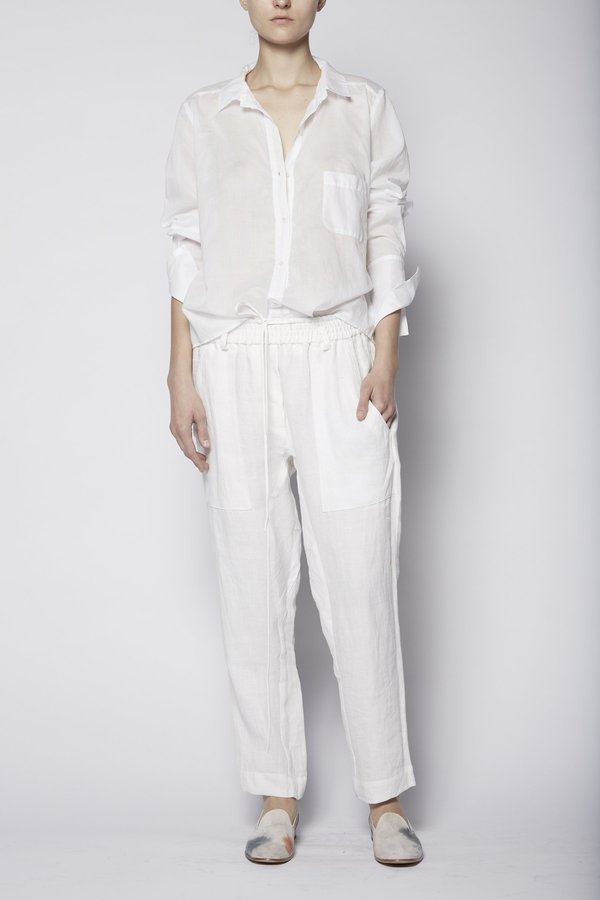 Kes Pleated Back Button Up - White