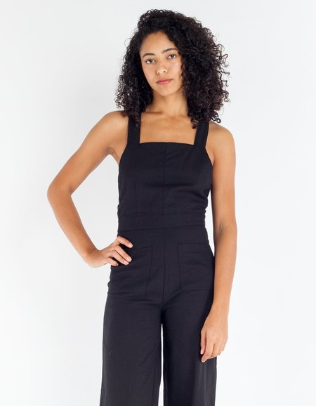 Rollas Linen Nights Jumpsuit - Black