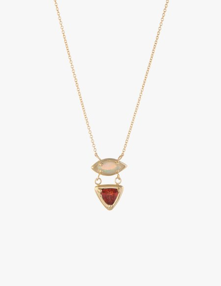 Kathryn Bentley White Opal & Fire Opal Cluster Necklace
