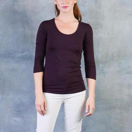 Majestic Ribbed Scoop Neck 3/4 Sleeve Top