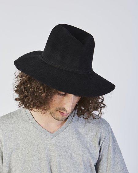 Clyde Wide Brim Pinch Hat in Black Angora