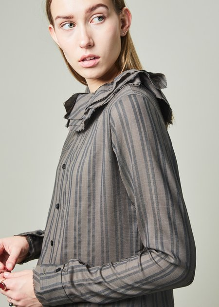 Aleksandr Manamis Ruffle Collar Striped Shirt