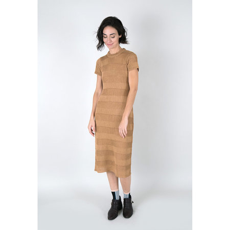 Callahan Open Weave Crewneck Dress - Camel
