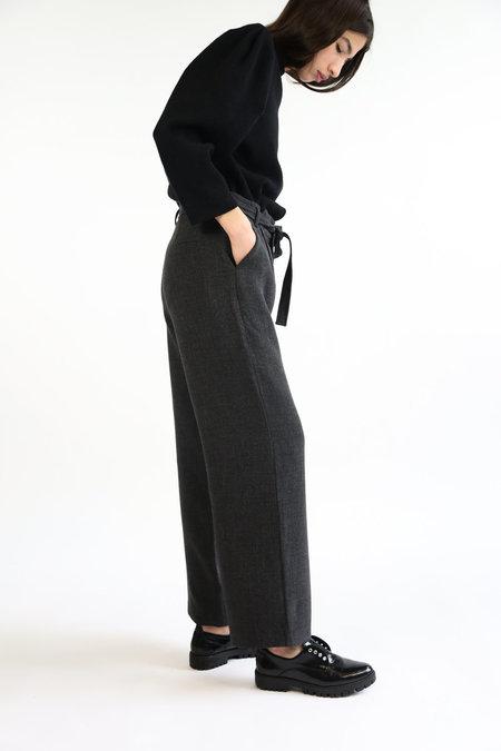 Mijeong Park Tie Front Wide Leg Pants - Charcoal