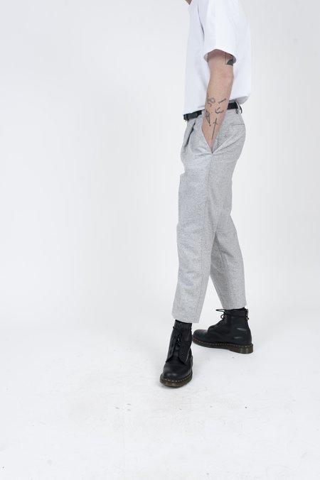 FOUR HORSEMEN Pleated Cropped Wool Spec Trouser - Grey