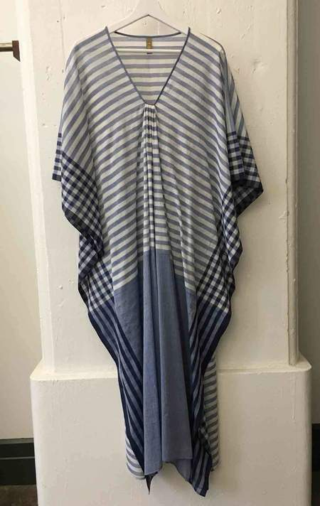 Two Blue and Navy Stripe Caftan