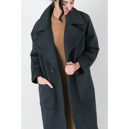 7115 NYC by Szeki Long Wool Coat - Charcoal