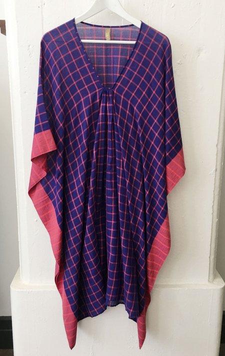 Two Purple Grid Caftan - Purple and Fuschia