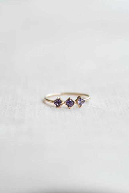 Loren Stewart Tri Stone Lilac Band Ring - Sapphires