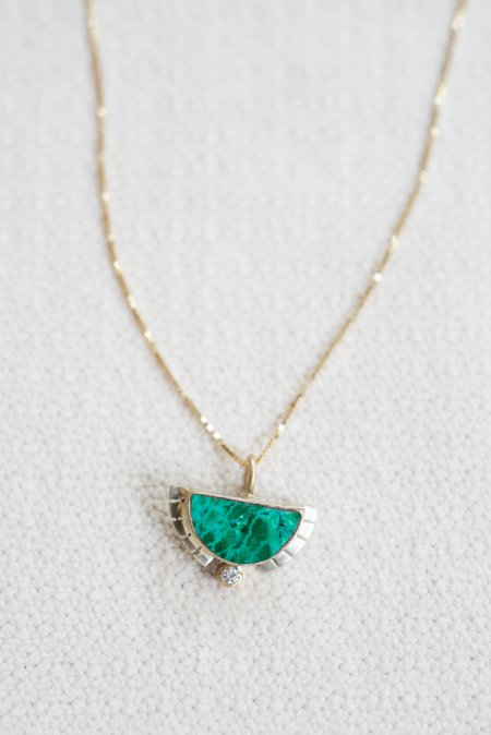 """Young In the Mountains Half Sol Necklace 14K Diamond 18"""""""