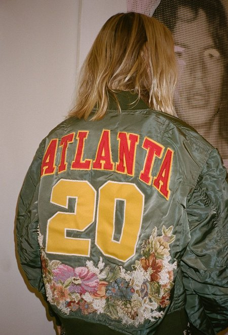 dry clean only Atlanta Floral Needlepoint Bomber