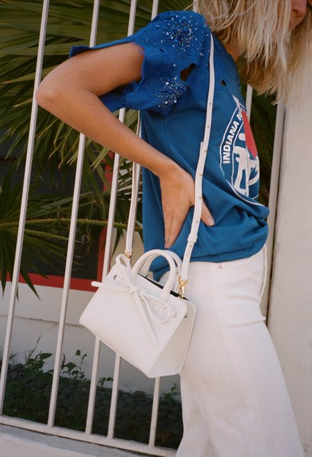 Mansur Gavriel Mini Mini Sun Bag - White/Blu