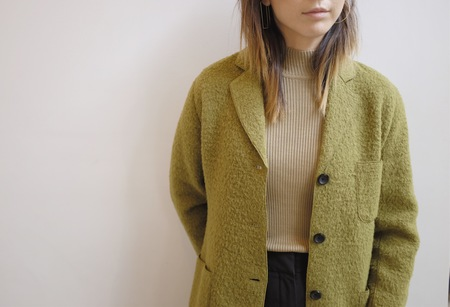 Hey Jude Vintage Olive Tufted Wool Coat