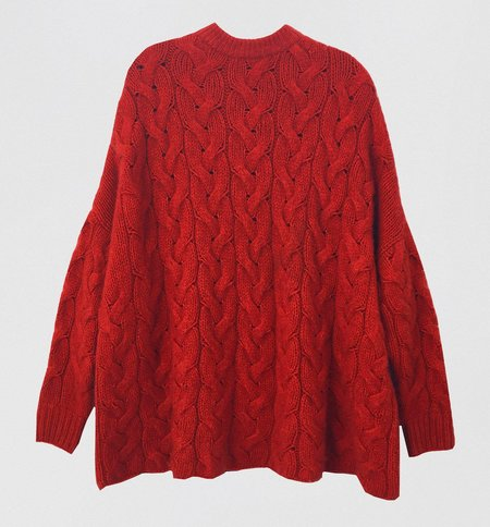 Ryan Roche Crew Neck Oversized Cable Sweater - Red
