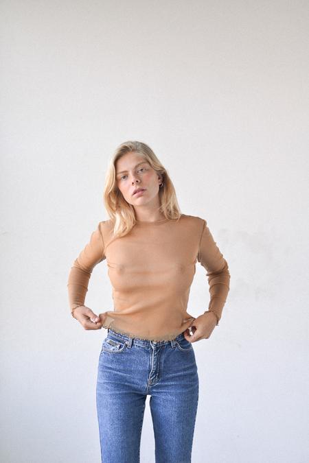 Priscavera Long Sleeve Mesh Top in Tan