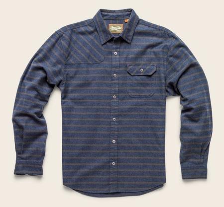 Howler Brothers Harker's Flannel Shirt - Skyline Stripe Navy/Green