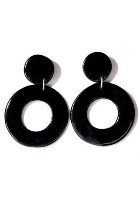 Levens XL Circle Earrings - Black