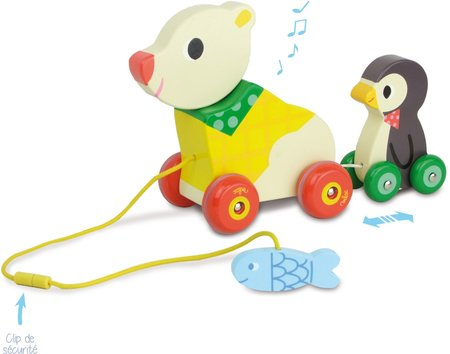 Vilac The Bear and The Penguin Pull Along Musical Toy