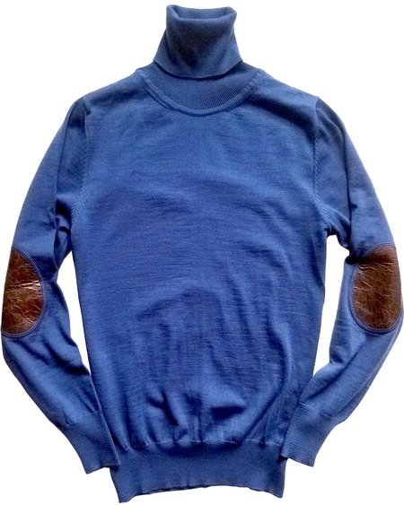 David Hart Cobalt Turtleneck With Leather Patches