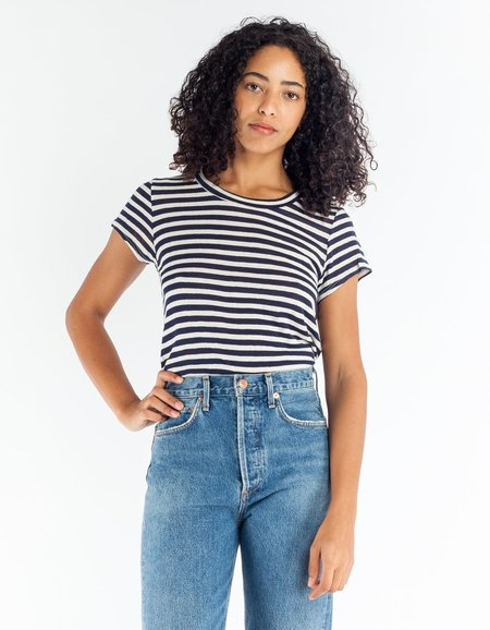 Lacausa Sea Tee - Navy Stripe